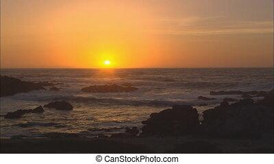 sol, armando, sobre, oceano pacífico