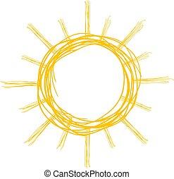 sol, arte, ilustração, agradável