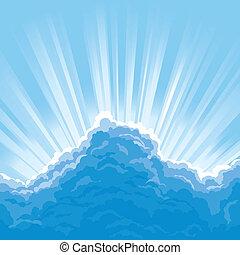 sol, atrás de, nuvens