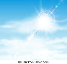 sol, atrás, nubes, brillar