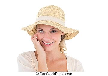 sol, atractivo, mujer, sombrero, llevando, joven