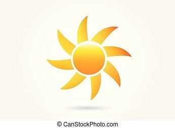 sol, avbild, vektor, logo