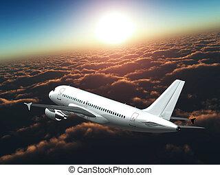 sol, avião