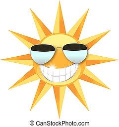 sol, bärande solglasögoner