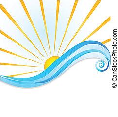 sol, bølger, skabelon, logo