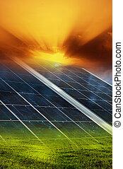 sol, bakgrund, panel