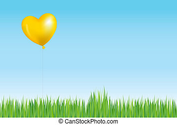 sol, balloon, gräs, lik, ovanför