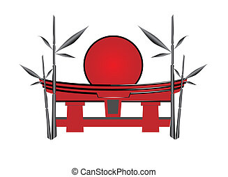 sol, bambú, japonés, puerta