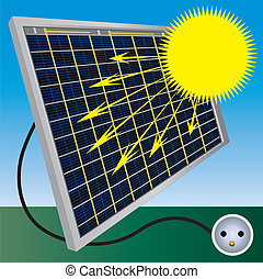 sol, batteri, bearbeta, illustration
