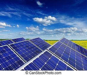 sol, batteri, paneler, in, lantlig, äng, fält