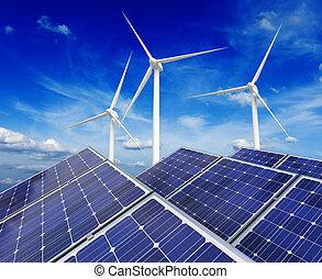 sol, batteri, paneler, och, linda, generatorer