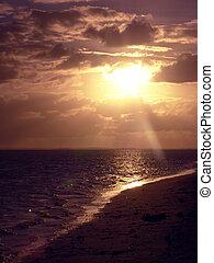 sol, blänkande