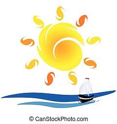 sol, bote, vetorial, mar, ilustração