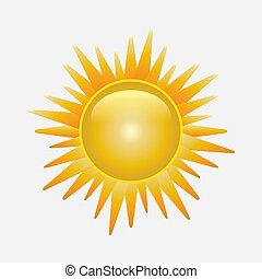 sol, branca, brilhante, isolado