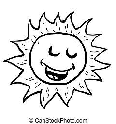sol, branca, pretas, sorrindo