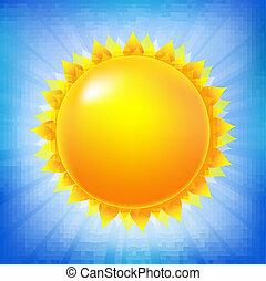 sol brillante, con, cielo azul