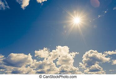 sol brillante, en, cielo azul, con, nubes