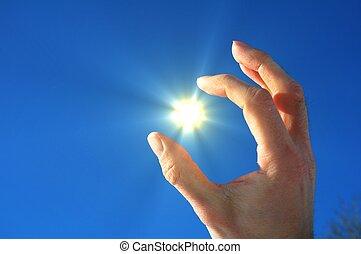 sol, céu, dedos, mão