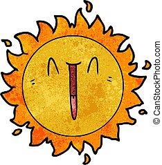 sol, caricatura, feliz