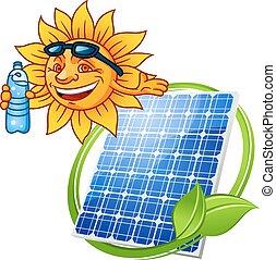 sol, caricatura, painel solar