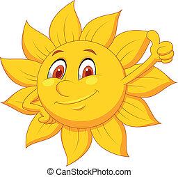 sol, caricatura, personagem, com, polegar cima