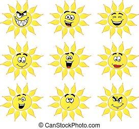 sol, cartoons, med, många uppsyn, isolerat, vita, bakgrund