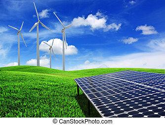 sol cell, energi, paneler, och, slingra turbin