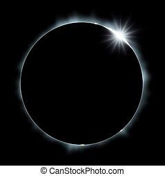 sol, cheio, eclipse