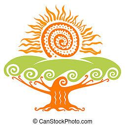 sol, com, árvore