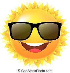sol, com, óculos de sol