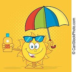 sol, com, amarela, halftone, fundo