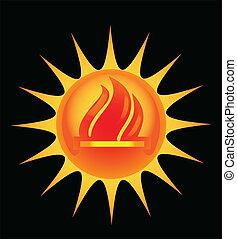 sol, com, chamas, coluna, vetorial