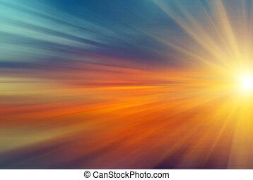 sol, com, raios, em, pôr do sol