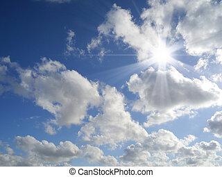 sol, com, raios sol, em, um, bonito, céu nublado