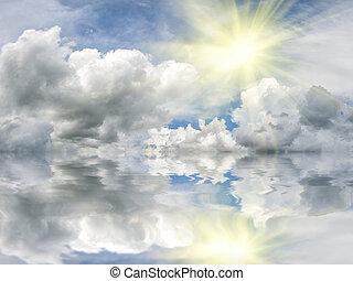 sol, com, reflexão, em, água