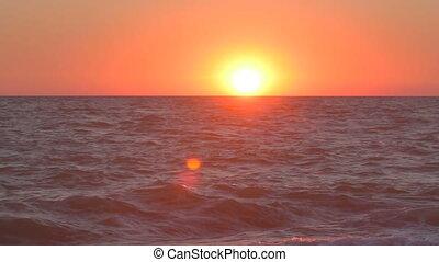 sol, como, se, inclinar-se, wavering, mar