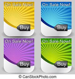 sol, comprar, botón, conjunto