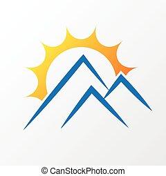 sol, con, montañas