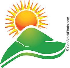 sol, con, swoosh, rayos, y, colinas, logotipo