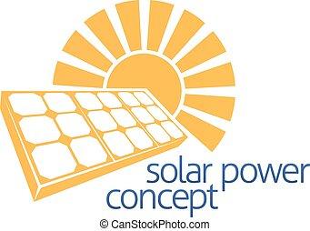 sol, conceito, poder solar, painel