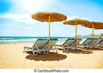 sol., costa, concept., 地中海, 休暇, del, 海, spain., 浜