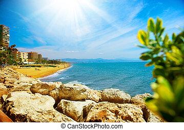 sol., costa, malaga, torremolinos, panoramiczny, del, prospekt, hiszpania