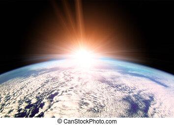 sol creciente, encima, tierra, horizonte