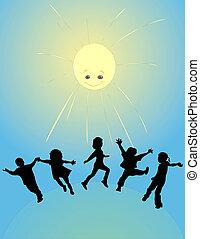 sol, crianças, tocando, feliz