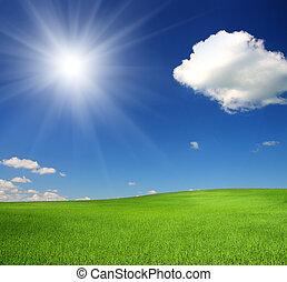 sol, debajo, cielo, colina verde