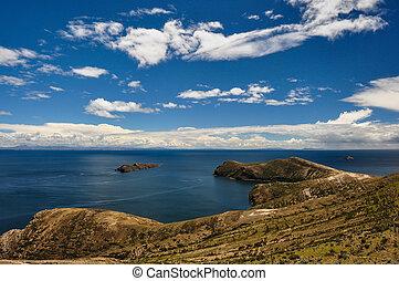 sol, del, 素晴らしい, isla, ボリビア, 風景