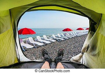 sol, dentro, loungers, vista, tienda playa