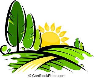 sol, desenho, árvores, paisagem