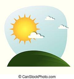 sol, desenho, nuvens, paisagem