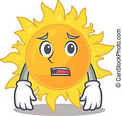 sol, desenho, rosto, verão, preocupado, mostrando, estilo, caricatura